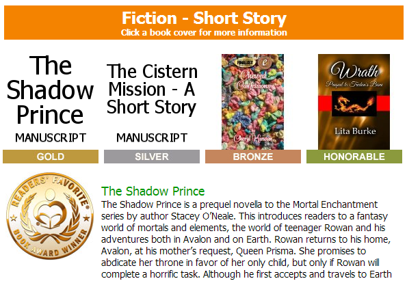 The Shadow Prince by Stacey O'Neale won gold!